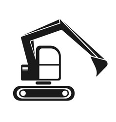 Hydraulic crawler excavator black silhouette vector