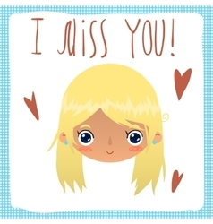 I miss you flat greeting card vector