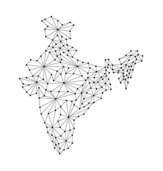 India map of polygonal mosaic lines rays and dots vector
