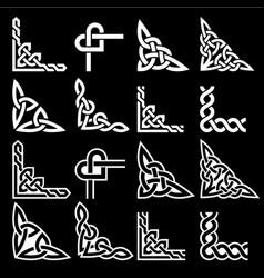 irish celtic corners design set braided vector image