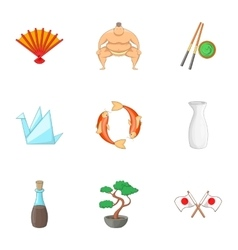 Japan elements icons set cartoon style vector