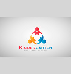 Kindergarten kids logo vector