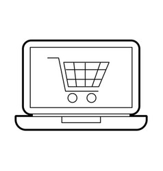 laptop computer cart shopping online order vector image