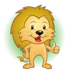 Lion cartoon mascot thumbs up vector