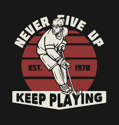 logo design never give up keep playing est 1978 vector image