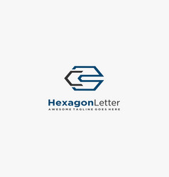 Logo hexagon letter c and s flat color geometric vector