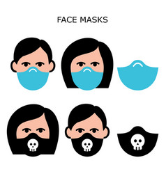 man and woman wearing face masks icons vector image