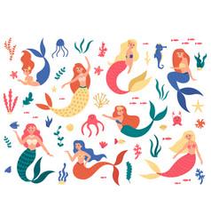 marine mermaids cute mermaid princess fairy vector image