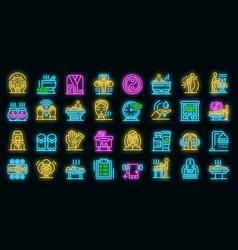 masseur icons set neon vector image