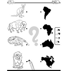 match animals and continents task color book vector image