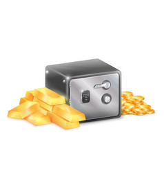 metal safe strongbox with golden coins gold bars vector image