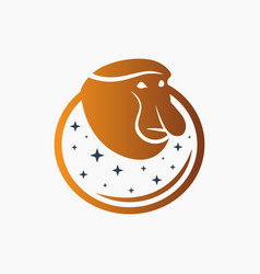 Modern monkey sharp nose logo vector