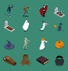 Monster halloween isometric icon set vector
