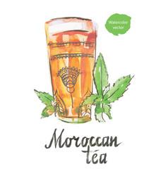 Moroccan tea watercolor vector