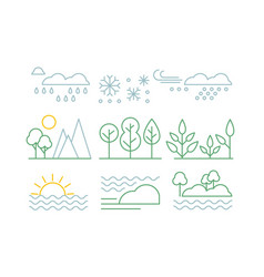 Nature set trees plants sea and weather vector