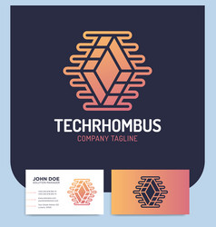 network technology rhombus abstract logo design vector image