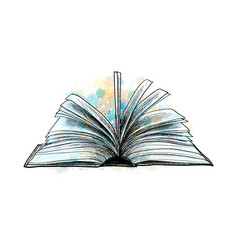 Open book hand drawn sketch vector