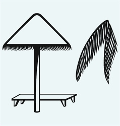Palm leaf and beach umbrella vector image vector image