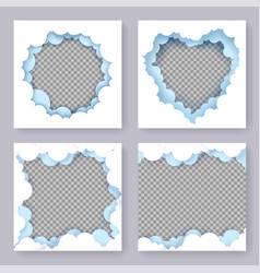 paper cut craft style frame set vector image