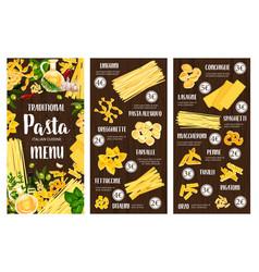 pasta italian food menu spaghetti macaroni herb vector image