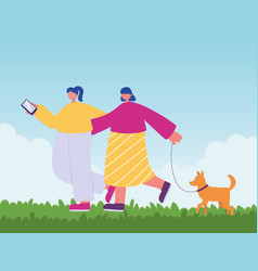 people activities young women walking with dog vector image