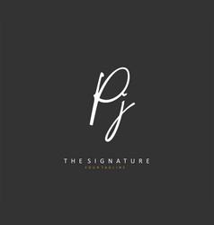 Pj initial letter handwriting and signature logo vector