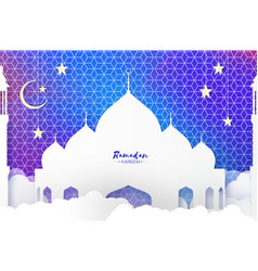 Ramadan kareem arabic mosque clouds white stars vector