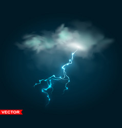realistic rain cloud with thunderstorm lightning vector image