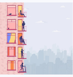 Residential building with people on open window vector