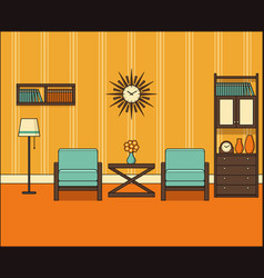 Retro room interior in line art linear vector