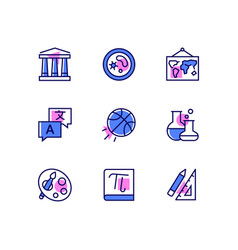 School subjects - modern line design style icons vector