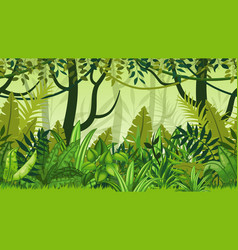 Seamless nature jungle cartoon landscape vector