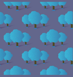 seamless pattern of blue gradient trees and grass vector image