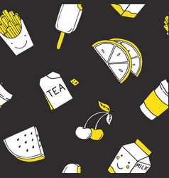 Seamless pattern with patch doodles on dark vector