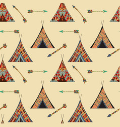 Seamless wigwam pattern vector