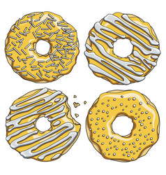 set gold donuts with silver cream vector image