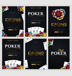 set of casino banners with casino chips and cards vector image