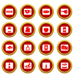 Shop navigation foods icon red circle set vector