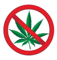 Sign prohibition cannabis red sign ban vector