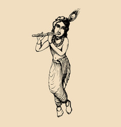 sketch of young krishna happy janmashtami vector image