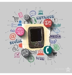 Smartphone and collage with web icons background vector image