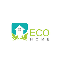 square eco home logo vector image