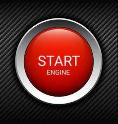 Start engine button on carbon background vector