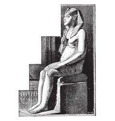 statue of amenophis iv vintage vector image