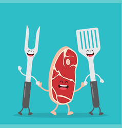steak and barbecue tools vector image