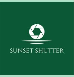 sunset sunrise moon shutter aperture camera vector image