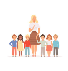 teacher with kids group young pupils standing vector image