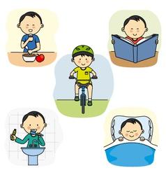 The daily activities a boy vector