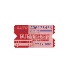 Ticket on bus paper cardboard coupon isolated card vector