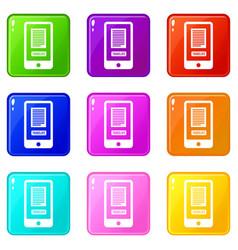 Translate application on a smartphone set 9 vector